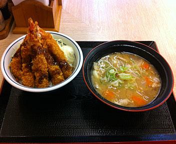 海老フライ丼 + とん汁