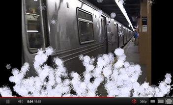 YouTubeにアップしたニューヨークの動画に雪が降る