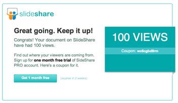 Slideshareにアップロードしたプレゼンテーションが100 Viewsを超えると...